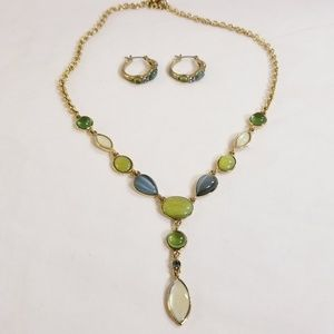 Monet Stone Necklace and Earring Set